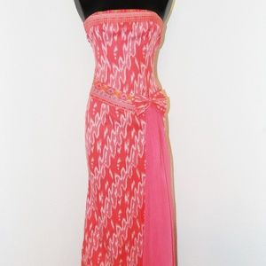Vintage 1970s Coral Strapless Dress in sz S